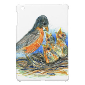 Petirrojo y polluelos - lápiz Drawin de la madre d iPad Mini Cárcasas