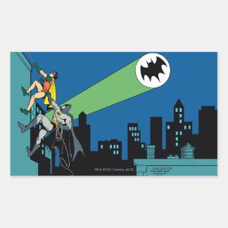 Petirrojo y subida de Batman Pegatina Rectangular