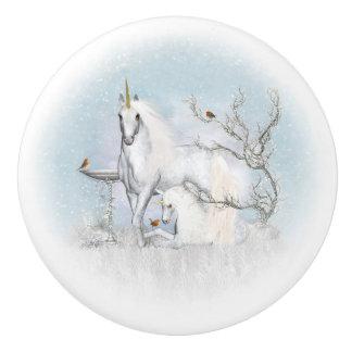 Petirrojos del invierno y botón de cerámica de los pomo de cerámica