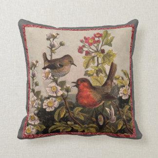 Petirrojos del vintage para los amantes del pájaro cojin