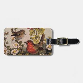 Petirrojos del vintage para los amantes del pájaro etiquetas para maletas