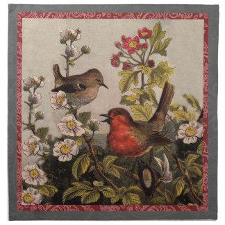 Petirrojos del vintage para los amantes del pájaro servilleta de papel