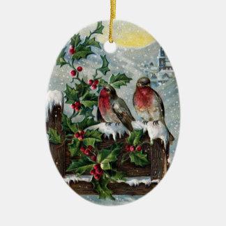 Petirrojos ingleses en navidad de un vintage de la ornamento para arbol de navidad
