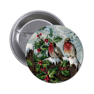 Petirrojos ingleses en navidad de una antigüedad d pin redondo 5 cm