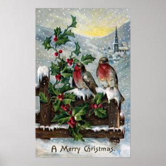 Petirrojos ingleses en navidad de una antigüedad d póster
