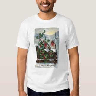 Petirrojos ingleses en navidad de una antigüedad playeras