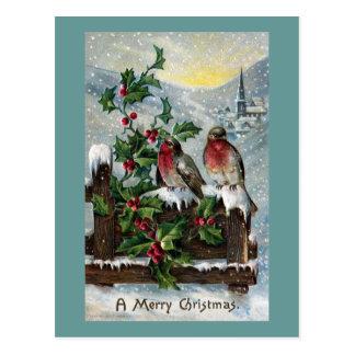 Petirrojos ingleses en navidad de una antigüedad tarjetas postales
