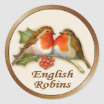 Petirrojos ingleses pegatina redonda