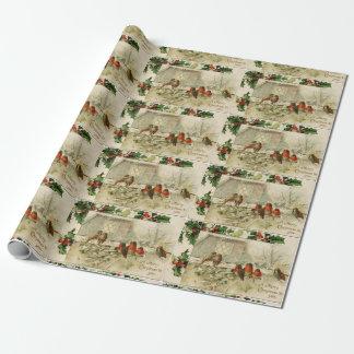 Petirrojos lindos del bebé del navidad del vintage papel de regalo
