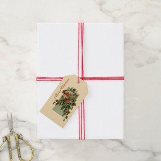 Petirrojos y acebo del navidad etiquetas para regalos