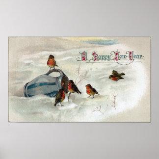 Petirrojos y Año Nuevo del vintage de la jarra Posters