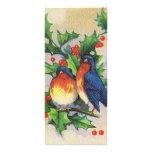 Petirrojos y navidad del acebo tarjeta publicitaria a todo color