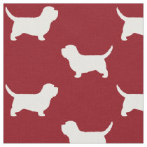 Petit Basset Griffon Vendeen PBGV Silhouettes Red Fabric