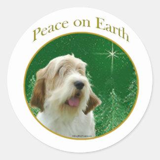 Petit Basset Griffon Venden Peace Round Stickers