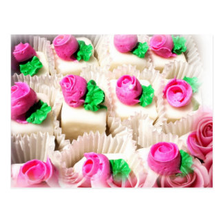 Petit Fours topped with delicate, pink rosebuds Postcard