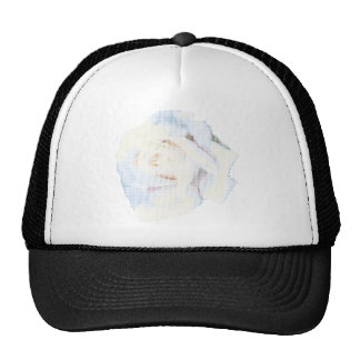 Petit Point White Rose Trucker Hat