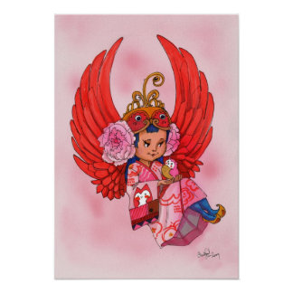 Petite Angel of Wisdom with Owl Poster