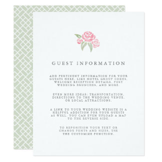 Petite Bouquet Wedding Guest Details Card | Blush