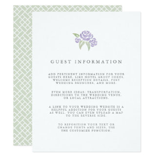 Petite Bouquet Wedding Guest Details Card | Lilac