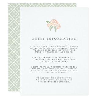 Petite Bouquet Wedding Guest Details Card | Peach