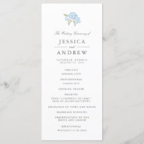Petite Bouquet Wedding Program | Cornflower Blue