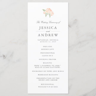 Petite Bouquet Wedding Program   Peach
