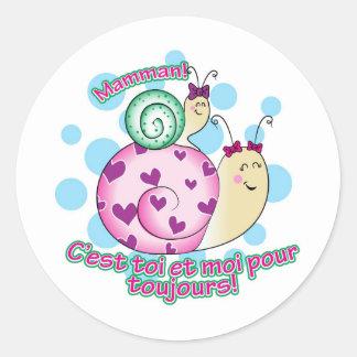 Petite Fille à Maman Classic Round Sticker
