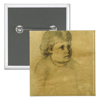 Petite fille (charcoal) 2 inch square button