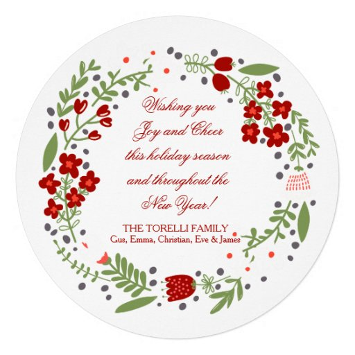 Petite Floral Wreath Holiday Card