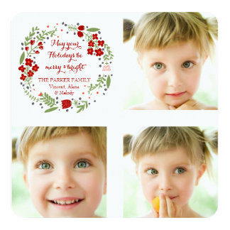 Petite Floral Wreath Holiday Photo Card