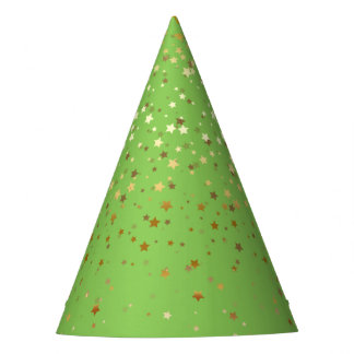 Petite Golden Stars Party Hat-Apple Green Party Hat
