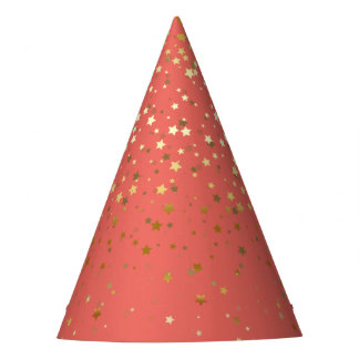Petite Golden Stars Party Hat-Coral Party Hat