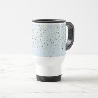 Petite Golden Stars Travel Coffee Mug-LGHT Blue Travel Mug