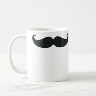 Petite Handlebar Mustache in Black Mugs