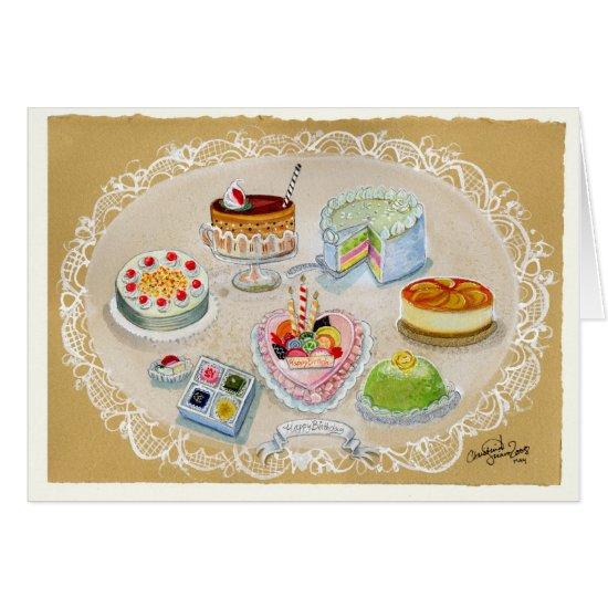 Petite Lovely Cakes Birthday greeting Card