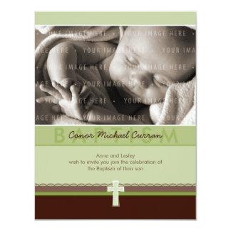 "PETITE PHOTO CHRISTENING INVITES :: pure 6 P 4.25"" X 5.5"" Invitation Card"