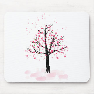 Petite Pink Cherry Tree - Hand Drawn Sketch Mouse Pad