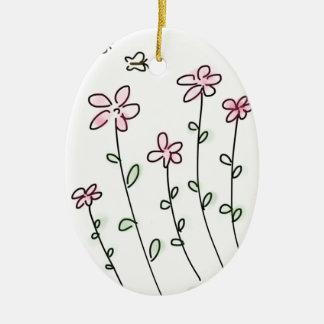 Petite Pink Flower Garden - Hand Drawn Sketch Ceramic Ornament