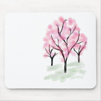 Petite Pink Flower Tree - Hand Drawn Sketch Mouse Pad