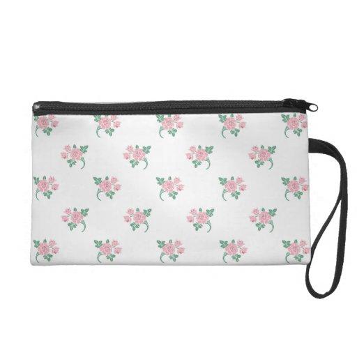 Petite Pink Roses Floral Pattern Wristlet Clutch