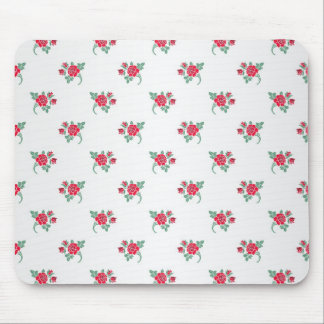 Petite Red Roses on White Pattern Mouse Pad