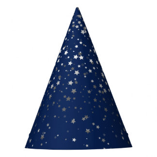 Petite Silver-Gray Stars Party Hat-Midnight Blue Party Hat