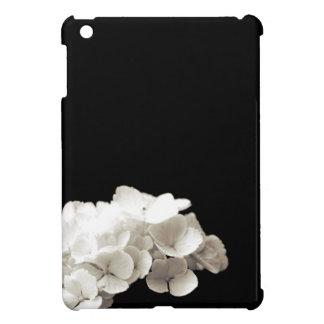 Petite White Hydrangea Flower Black Background iPad Mini Covers