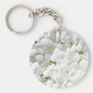 Petite White Hydrangea Flower Keychain