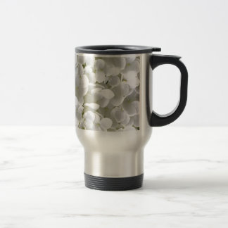 Petite White Hydrangea Flower Travel Mug
