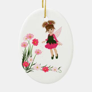 "PetitRose ""poca hada de la flor"", ornamento Adorno Navideño Ovalado De Cerámica"