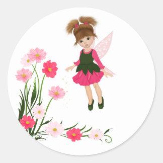 "PetitRose ""poca hada de la flor"", pegatina redondo"