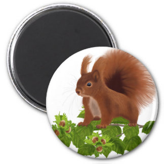 "PetitRose ""Squirrel on Hazelnut twig"" , 2 Inch Round Magnet"