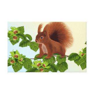 "PetitRose ""Squirrel on Hazelnut twig"" , Canvas"