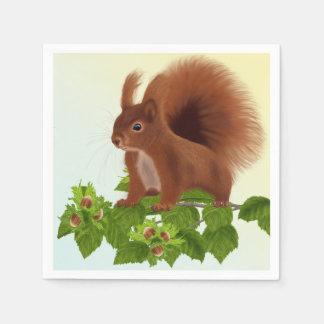 """PetitRose """"Squirrel on hazelnut twig"""" , Napkins"""